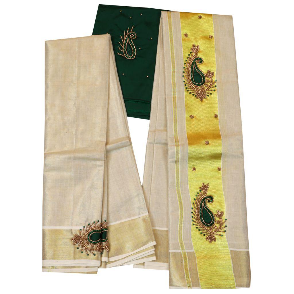 Tissue Set Mundu Embroidery