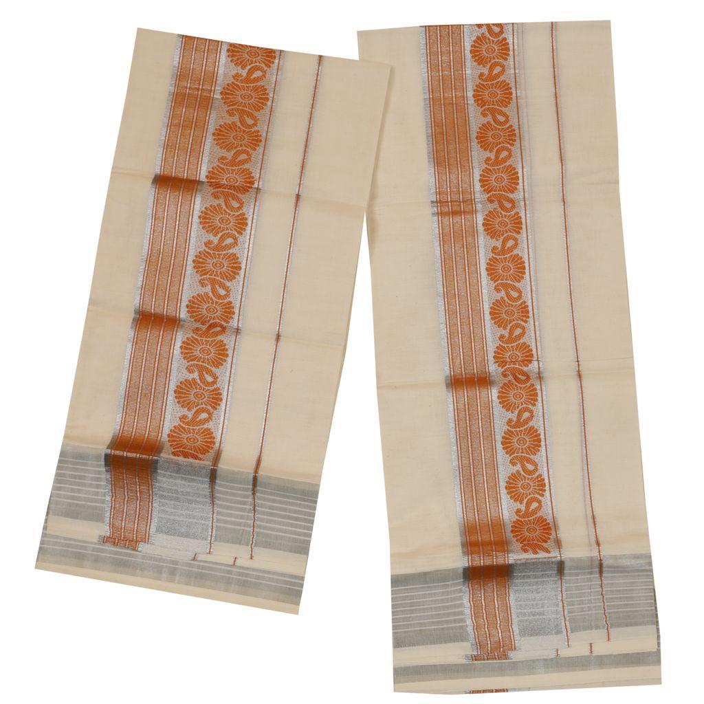 Set Mundu With Orange And Silver Print